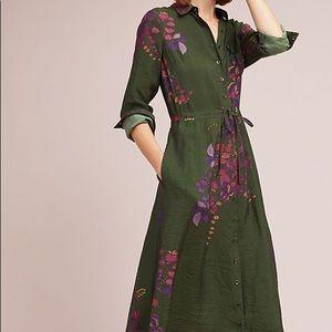 Anthropologie Maeve Green Floral Maxi Shirt Dress